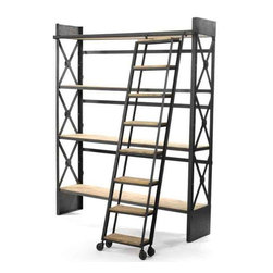 Loft Bookcase with Ladder - This lofty bookcase comes from our country chic furniture collection. It stands tall against the wall as the iron and reclaimed wood ladder design book shelf is large enough to store piles of books as well as enhancing the outlook of your library or study room.