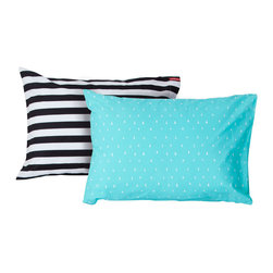SWENYO - Black & White Stripe and Teal Triangle Pillow Case Set - Same is lame. Our unique pillowcases will add color and personality to any space. Hand-selected by our team of designers, this contrasting pillowcase set has vibrant colors and an incredibly soft feel finished with our signature red SWENYO tag.