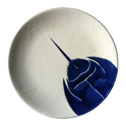 """Jessica Howard Ceramics - Round Platter 11.5"""", Navy Horseshoe Crab - Serve up some coastal style with this hand-painted platter. The simple color scheme and hand-drawn, nature-inspired design make it perfect for a rustic beach cottage look. Glazed and kiln-fired for lasting color, this memorable piece may become a coveted heirloom."""