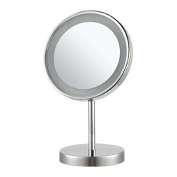 Nameek's - Free Standing 3x Makeup Mirror - This free standing makeup mirror has a single 8 inch face. It has 3x magnification and an LED light. This chrome finished mirror is made from brass with a stainless steel base. It features a contemporary, Italian style design.