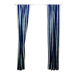 """Ichcha - Royal Window Curtain, 96"""" - Mix and Match Pair of Stripes and Toiles, a unique interpretation of History done in its original form, hand block printing. The Panels are hand block printed and colored with natural dyes! The pair reminds us a royal palace, with the combo of charcoal stripes and traditional red Toiles."""