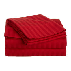 300 Thread Count Egyptian Cotton Twin XL Red Stripe Sheet Set - Experience true 100% Egyptian Cotton luxury when you sleep on these 300 Thread Count sheets.  An affordable luxury that drapes beautifully on the bed. This set includes One Flat Sheet 66x96, One Fitted Sheet 38x80, and One Pillowcase 20x30.