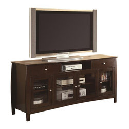 Coaster - Coaster CONNECT-IT TV Console in Walnut - Coaster - TV Stands - 700693 - Featuring a CONNECT-IT power drawer for charging iPods cell phones and other small electronics this TV console accommodates all of your digital needs without sacrificing style and class. An open compartment near the top of the piece is perfect for a DVD player or gaming component. Four glass drawers close over shelves perfect for storing additional electronics movies books and decorative items. Designed with simple lines and a sleek look this console easily updates and refreshes your home d��cor.