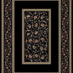 """Concord Global - Concord Global Ankara Floral French Scrolls Border Black  7'10"""" Round Rug (6233) - The Ankara collection is made of heavy heat-set olefin and has the look and feel of an authentic hand made rug at a fraction of the cost. New additions to the line include transitional patterns that are up to date in the current fashion trend. Made in Turkey"""