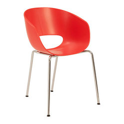 Lisa Chair, Tangerine/Chrome, Set of 2