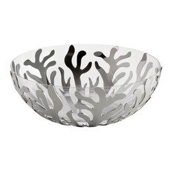 Alessi - Alessi Mediterraneo Fruit Holder & Bowl - Fruit holder in 18/10 stainless steel and bowl in thermoplastic resin. Manufactured by Alessi.