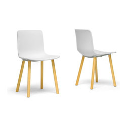Wholesale Interiors - Lyle White Plastic Modern Dining Chairs, Set of 2 - Wow - what is this - a contemporary dining chair that doesn't cost an arm and a leg? Count me in for two - no, make that four! Our Lyle Modern Dining Chair has a sleek, minimalist white molded plastic seat that calls for equally sleek legs but the thick, unrefined wooden dowel legs are a unexpected, delightful feature. The legs, which must be bolted to the seat bottom after unpacking, are finished off with non-marking feet. This Chinese-made designer dining chair should be wiped clean with a damp cloth. If white isn't your thing, you're in luck: a black seat variation of this style is also available (sold separately).Product Dimension: 18.5 inches W x 19 inches D x 31 inches HSeat Dimension: 18.5 inches W x 16 inches D x 18 inches H.