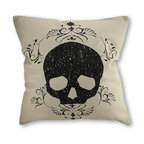 Zeckos - Bethany Lowe Damask Skull Throw Pillow 18 in. - It's simple to add some sophisticated macabre style to your home with this damask design skull throw pillow, by Bethany Lowe Designs. A skull silhouette enveloped in a delicate damask pattern is printed on a cotton shell of a soothing natural linen color, so it'll blend nicely with any decor. The polyester insert easily removes via a zipper on the bottom, making the cotton cover easy to clean. It measures 18 inches by 18 inches, and is the perfect accent whether it's on the couch, occupying your favorite chair or resting on the floor or a table. Spot clean or dry clean only is recommended.