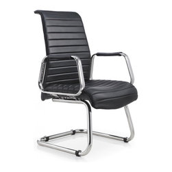 White Line Imports - Oxford Visitor Office Chair in Black Leatherette - Features: