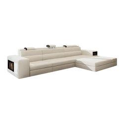 VIG Furniture - Polaris Mini - Contemporary White Bonded Leather Sectional Sofa - Miniature version of popular Polaris Sectional Sofa