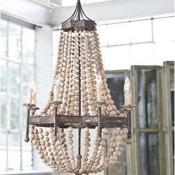 Regina Andrew - Regina Andrew Scalloped Wood Bead Chandelier - Scalloped wood bead chandelier.