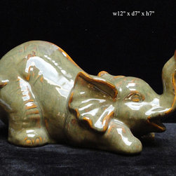 "Ceramic Gray Green Elephant Figure - Dimensions: w12"" x d7"" x h7"""