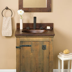 """Native Trails 24"""" Americana Vanity in Chestnut - Character is a thing of the past. Handcrafted by American artisans from reclaimed wood, each Americana Vanity has a character as rich as its history. Its beautifully textured wood, rescued from structures of the past: old barns, homesteads, and fencing, has stood the test of time. These strong heirloom pieces lend soulful presence and are complemented with hand-forged iron hardware. Available in 24"""", 30"""" and 36"""", each in Chestnut, Whitewash, Anvil, and Driftwood finishes. Pair with any of our stone or copper vanity tops."""