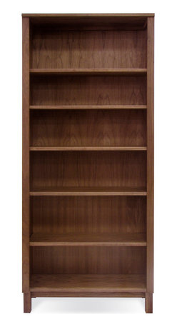 Jesper Office Furniture - Highland 75 Walnut Tall Bookcase with Wood Legs - This bookcase consisting of six shelves is great for book and papers. With contemporary engineering idea in mind and traditional design, the piece offers plenty of storage space. Handmade in the USA, this hand-crafted Bookcase w/ Wood Legs by Jesper Office Furniture is finished with a pure hand-rubbed oil finish.