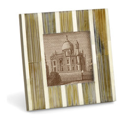 Kalahari Photo Frame - Sleek contemporary design combined with a rustic finish makes this handcrafted frame the perfect way to display a favorite photo.  It is fashioned from Recycled Wood inlaid with  Horn and  Bone, creating a unique look that will blend seamlessly with any decor. Wipe clean with a damp cloth.