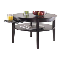 Winsome Wood - Round Coffee Table in Espresso Finish - Includes pull out tray. Ample storage. One shelf. Made from solid and composite wood. Assembly required. Shelf: 24.80 in. Dia.. Tray: 11.49 in. W x 13.94 in. D. Shelf clearance 4.73 in.. Ground clearance to shelf: 9.92 in.. Overall: 30 in. Dia. x 18 in. H