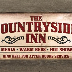 MyBarnwoodFrames - Countryside Inn Primitive Rustic Wall Decor Sign in Reclaimed Wood - The Countryside Inn Print in Reclaimed Barnwood Frame. This country primitive-style print will welcome your guests with a hint of southern hospitality: Hot Meals, Warm Beds, Hot Showers, Ring bell for after-hours service. Print is designed by Lauren Rader. Barn red, tan, and brown color tones, all surrounded by an aged wood frame. Perfect for your country home or cabin kitchen.