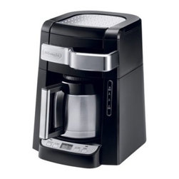 Delonghi DCF2210TTC 10-Cup Programmable Coffee Maker with Thermal Carafe - When you want a whole pot but won't be mainlining it all morning, the Delonghi DCF2210TTC 10-Cup Programmable Coffee Maker with Thermal Carafe is just the solution for keeping your coffee hot and ready. This coffee maker features a 10-cup thermal pot that keeps your java warm much longer than a standard glass carafe. It also offers a handy pull-out front-access design, so adding water and grounds is an easy task. Other features include a 24-hour digital timer, gold tone filter, and a time-release water function that saturates coffee grounds a little at a time to extract a fuller flavor.About De'Longhi USAFounded over a century ago when the De'Longhi family opened a workshop in Treviso, Italy the De'Longhi brand set the standard for handcrafted quality and expert craftsmanship. Three generations later, the people at De'Longhi believe design is timeless, and strive to find beauty in everyday objects to bring style to your home. Expert manufacturing is also high on their priorities. De'Longhi tests their espresso machines to ensure that tens of thousands of perfect cups can be brewed by a single machine. They put all their products through the same rigorous tests, and their factory features an entire wing devoted to product testing. De'Longhi works under the philosophy that the most beautiful product in the world is worthless if it's not built to last. Finally, De'Longhi believes design is so much more than aesthetics. Design is ways to make people's lives easier. From their patented single touch systems to self-adjusting temperature controls, they believe it's the small details that make a huge impact on how people enjoy a product.