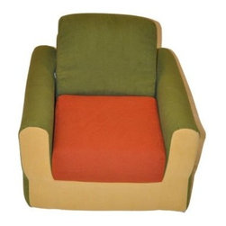 Fun Furnishings - Fun Furnishings Hummer Chair Sleeper in Green/ Orange/ Yellow - Our unique cloud chair and ottoman offer kids a cushy, comfy place to hang out and read, listen to music or text message their friends. The high density foam offers long lasting comfort while being so light weight that it is easy to move it anywhere you like. Built-in durability. We've worked hard to make our furniture durable and help it retain its appearance. We use high-density foam to make the furniture hold up to the tough use it receives from kids. We include a layer of fiber on the seating surfaces to keep the fabric tight much longer.