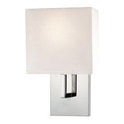 Kovacs - Kovacs P470-077 1 Light Wall Sconce from the Decorative Sconces Collection - Kovacs P470-248 Chrome Finish Single Light Wall SconceFeaturing a an ultra modern design consisting of purely right angles, this stylish single light wall sconce will make an excellent addition to any room. Honey Gold hardware is paired with a white fabric shade for a beautiful fixture that will fit perfectly into any decor.