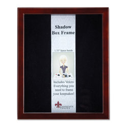 "Lawrence Frames - Espresso Wood Shadow Box 11x14 Picture Frame - This high quality wood shadow box frame comes with everything you need to create the perfect memory box.  With 1.75"" of space inside (between the glass and felt display board), you will have plenty of room to add treasured items, photos, and clippings.  A self adhesive hook and loop strip is included that can be cut and placed anywhere you wish on the black felt inner lining.  This beautiful shadow box frame is constructed with quality in mind and is joined in the corners with a ""spline"" joint for years of enjoyment.  The molding is approximately 3 4 "" wide, and 2 5 8"" deep.  This shadow box frame comes individually boxed, and includes high quality black wood backing.  These display boxes can stand on their own for tabletop display, or can be displayed on the wall with included hangers for vertical or horizontal wall mounting."