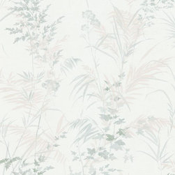 Brewster Home Fashions - Tory Ivory Tropical Leaves Wallpaper Bolt - This natural wall paper design inspires a place of tranquility and peace in your home with lush tropical leaves in cream sage and ivory.