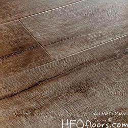 "AJ Rustic Modern Laminate - AJ Trading AJ Trade Mega Clic Tuscan reclaimed oak 12.3mm x 7"" wide board, wire brushed embossed laminate AC3 rating, available at HFOfloors.com Hardwood Floors Outlet in Murrieta, CA."
