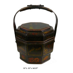 Chinese Bamboo Octagon Flower Wedding Basket - This is a traditional oriental bamboo basket with nice hand painted flower graphic on the lid. It has subtle color and decent details on the finish.