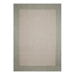Direct Home Textiles - Indoor/Outdoor Area Rug: Simple Border Sage 8' x 11' - Shop for Flooring at The Home Depot. One of todays most popular and versatile area rugs, this densely woven rug has been specifically manufactured for outdoor use, but is also ideal for indoor decors. Its constructed of 100% polypropylene surface yarns which are naturally resistant to stains. This rug is ideal for use on patios, screened in porches, kitchens, playrooms, dens and college dorms. Possibly one of todays most versatile patterns, this simple border design features an inner woven natural/sage green colored texture accented by a sage green outside border. This design is available in black & khaki and can be used in contemporary, transitional and floral decors as well as accenting traditional furniture and accessories.