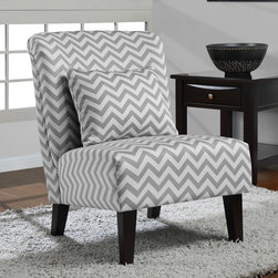 None - Anna Grey/ White Chevron Accent Chair - Add a trendy touch to your living space with this grey and white chair from Anna. A popular chevron print and espresso finish highlight this chair.