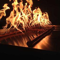 "Custom Fire Pit Burners - 60"" x 30"" pan with 300K BTU All Brass Crossfire Dual Linear Burners"