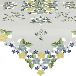 Xia Home Fashions - Fancy Flowers 34-Inch By 34-Inch Table Topper-Blue - Cheerful emboidered florals colorfully burst forth on lovely cutwork. A happy and warm accent to any setting!