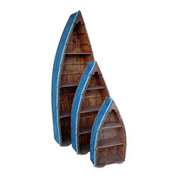 """Set of Three Distressed Wood Boat Shelves w/ Rope - The set of three distressed wood boat shelves w/ rope measures 27"""" x 16"""" x 77"""" for the largest shelf, 22"""" x 11"""" x 50"""" for the medium shelf  18"""" x 9"""" x 34"""" for the smallest shelf. Both the blue paint on the outside of the shelves and the wood are made to look distressed. The two lower shelves on the large  medium boats can be removed if necessary for display of larger items. The rope accent on each shelf helps to add to the authentic look. This item is only sold as a set of three. It will add a definite nautical touch to wherever it is placed in and is a must have for those who appreciate high quality nautical decor. It makes a great gift, impressive decoration and will be admired by all those who love the sea."""