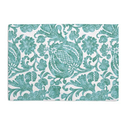 Turquoise Dappled Floral Custom Placemat Set - Is your table looking sad and lonely? Give it a boost with at set of Simple Placemats. Customizable in hundreds of fabrics, you're sure to find the perfect set for daily dining or that fancy shindig. We love it in this watercolor floral and vine outdoor print in dappled aqua & white works indoors and out.