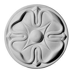 """Ekena Millwork - 5""""OD x 3/4""""P, Flower Rosette - Our rosettes are the perfect accent pieces to cabinetry, furniture, fireplace mantels, ceilings, and more.  Each pattern is carefully crafted after traditional and historical designs.  Each piece comes factory primed and ready for your paint.  They can install simply with traditional adhesives and finishing nails."""