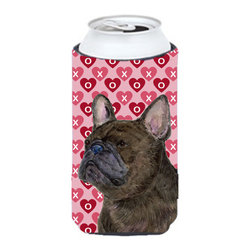 Caroline's Treasures - French Bulldog Hearts Love and Valentine's Day Portrait Tall Boy Koozie Hugger - French Bulldog Hearts Love and Valentine's Day Portrait Tall Boy Koozie Hugger Fits 22 oz. to 24 oz. cans or pint bottles. Great collapsible koozie for Energy Drinks or large Iced Tea beverages. Great to keep track of your beverage and add a bit of flair to a gathering. Match with one of the insulated coolers or coasters for a nice gift pack. Wash the hugger in your dishwasher or clothes washer. Design will not come off.