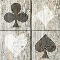Suzanne Powers - Rustic Playing Card Symbols, White/Black - Playing card symbols come in two colors:  sepia, white/black