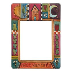 "Sarah Grant / Sticks Furniture - Sticks Wooden 8x10 Vertical Wall Frame - Inscribed with the phrases ""Cherish Family"" and "" Home is Where the Heart Is"" this 8x10 hand carved and hand painted frame charms with vibrant and colorful scenes including heart-shaped leaves, fruits, the sun, moon, stars, and a home. A beautifully crafted piece that will be treasured for generations. Made in the USA."