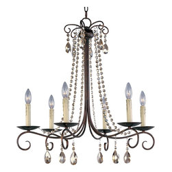 Maxim Lighting - 6 Light 1 Tier ChandelierAdriana Collection - Featuring a transitional style that mixes classic curled arms with a rustic finish and decorative strung crystals, this 6 Light 1 Tier Chandelier will brighten up any room.