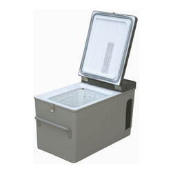 Engel - Portable Dual Voltage Fridge & Freezer in Gray - Compact and portable freezing unit. Capable of freezing almost anything. Ideal for making ice or quick freezing provisions. Can hold a steady interior temperature. Great for people on the move. Operates off 12/24V DC or 110V AC. Automatically switches power from 12/24 volts DC to 110 volts AC. 2 Year limited warranty. Inside dimensions: 11.5 in. L x 8 in. W x 10 in. H. Outside dimensions: 21.2 in. L x 12 in. W x 14.2 in. H. Weight: 37 lbs.The Engel MT17 is a compact powerful AC/DC freezer capable of freezing almost anything. It is ideal for making ice or quick freezing provisions. As a refrigerator it can hold a steady interior temperature. They are great for people on the move - all you need is a 12 Volt or 110 Volt power source. Operates off 12/24V DC or 110V AC. It automatically switches power from 12/24 volts DC to 110 volts AC.