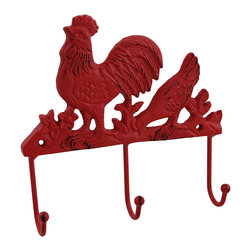 Zeckos - Rustic Red Rooster and Hen Decorative Wall Hook Accent - Adding a touch of country charm to your wall is easy with this rooster and hen wall hook. It's crafted from cast iron and painted bright red with a rustic finish, and measuring 7.25 inches long, 7.25 inches wide and 1.5 inches deep (18 x 18 x 4 cm), it's great near an entryway to hang your keys, in a kitchen for hanging towels and potholders, or in the dining room as an accent to your country decor, and it's great as a gift for a rooster collector sure to be loved