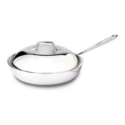 All-Clad - All-Clad Tri-Ply Stainless Steel 9 inch French Skillet w/Domed Lid (41096) - The French Skillet features a large surface area and round sides that hold in heat and liquids while preventing splattering, making the pan ideal for searing, browning and pan frying a wide range of foods, including eggs and meats. The round sides allow for large quantities of food to be easily flipped,and facilitates easy basting while cooking, yielding superb results full of flavor and color. Lifetime warranty from All-Clad with normal use and proper care. Made in the USA!