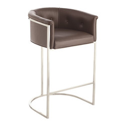 Arteriors - Calvin Barstool, Brown By Arteriors - This stool has terrific style! It has a low curved back and top-grain upholstery to cradle you in comfort and a streamlined, stainless steel frame with a polished nickel or antique brass finish.