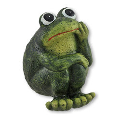 Thoughtful Cement Frog Indoor/Outdoor Figurine - This little frog is deep in thought, searching the sky above for answers to life's questions. This figurine is equally adorable displayed on a shelf in your home, or nestled into a garden or flower bed. Made of cement, it measures 4 1/4 inches tall, 4 1/4 inches long, and 3 1/2 inches wide. It is lovingly hand painted, and makes a great gift for a frog loving friend.