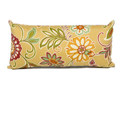 TKC - Pair of New Decorative Outdoor Throw Pillows Rectangle - 11x22 - Golden Floral - Help make your outdoor space inviting with the addition of outdoor throw pillows.