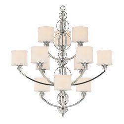 Golden Lighting - 363 Modern Three Tier Chandelier - The Cerchi Three Tier Chandelier provides sophisticated modern style at an affordable price. Its polished chrome finish on metal frame with clear acrylic balls style beautifully with etched opal glass. Founded in 1982, Golden Lighting was established as an importer of manufactured products from overseas.