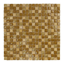 """Glass Tile Oasis - Stone Blend 5/8"""" x 5/8"""" Brown Crystile Blends Glossy Glass and Stone - Our Crystile Series offers a wide range of hues to suit your mood and your style! The vibrancy and depth of our crisp, smooth glass results in a unique and dramatic effect for use in both residential and commercial installations."""