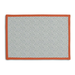 Aqua Geometric Maze Tailored Placemat Set - Class up your table's act with a set of Tailored Placemats finished with a contemporary contrast border. So pretty you'll want to leave them out well beyond dinner time! We love it in this geometric maze pattern in seafoam on ivory pure linen. a classic, yet modern coordinate for any decor.