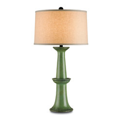 Currey & Co - Currey & Co 6091 Windowbox Antique Green Table Lamp - 1 Bulb, Bulb Type: 150 Watt Type A; Weight: 10lbs