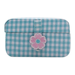 WOLF - Kids Petite Mini Jewelry Box, Turquoise Gingham/Pink Dot - The Poppy Petite Mini jewelry case collection is a set of portable, single-compartment containers for childrens small treasures. Each of the cases has a slightly different size, shape, color and pattern.